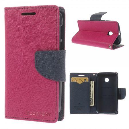 Mercury Goospery - Motorola Moto E Hülle - Handy Bookcover - Fancy Diary Series - pink/navy