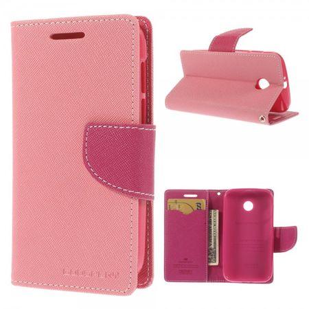 Goospery - Motorola Moto E Hülle - Handy Bookcover - Fancy Diary Series - rosa/pink