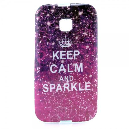 Motorola Moto E Elastisches Plastik Case mit Spruch Keep Calm and Sparkle