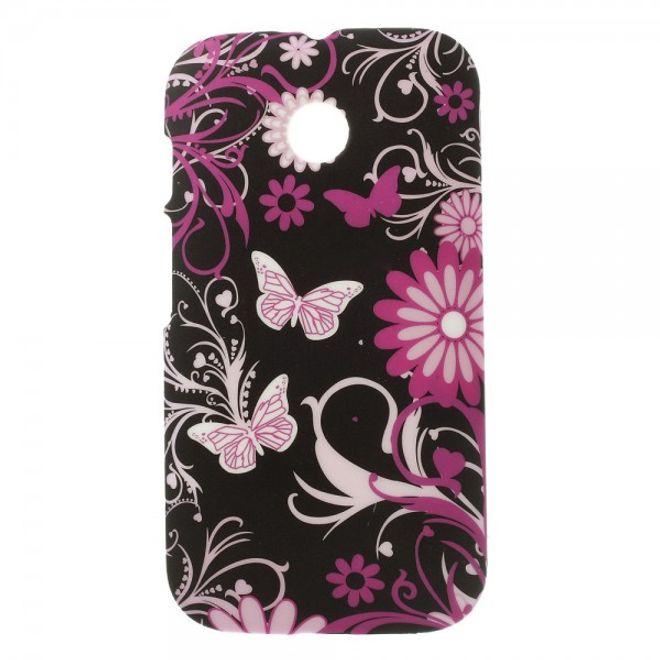 Motorola Moto E Hart Plastik Case mit Blumen und Schmetterlingen