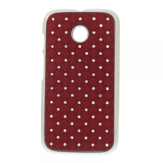 Motorola Moto E Hart Plastik Case mit Glitzersteinen - rot