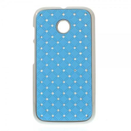 Motorola Moto E Hart Plastik Case mit Glitzersteinen - hellblau