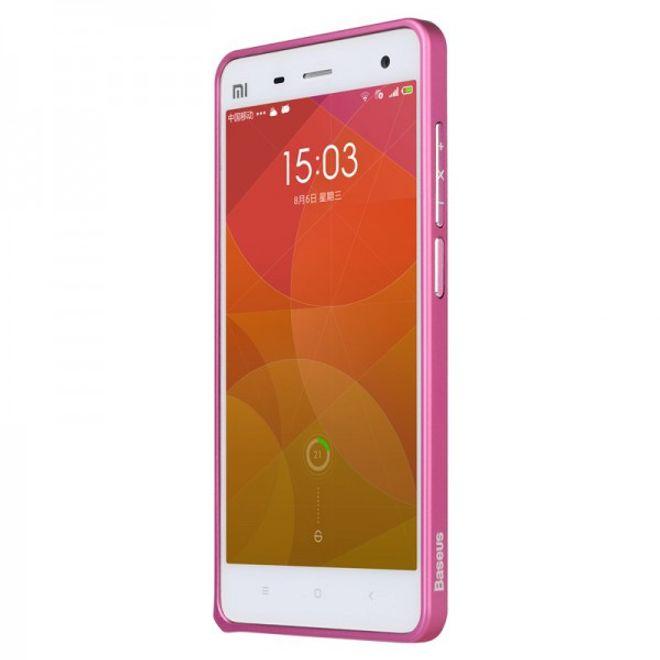 Baseus Xiaomi Mi4 Baseus Bumper mit leichtem Glanz und Aluminiumlegierung - pink