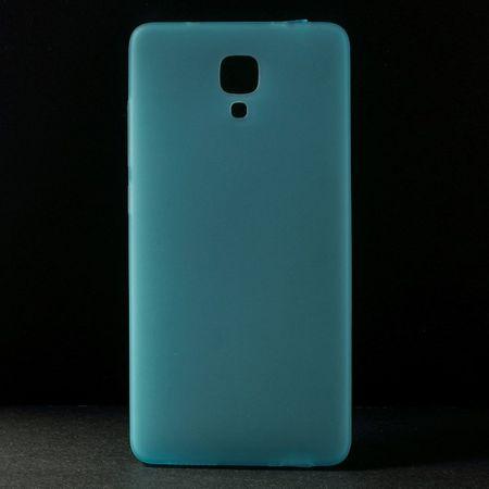 Xiaomi Mi4 Elastisches, mattes Plastik Case mit Staubschutz Stöpsel - blau