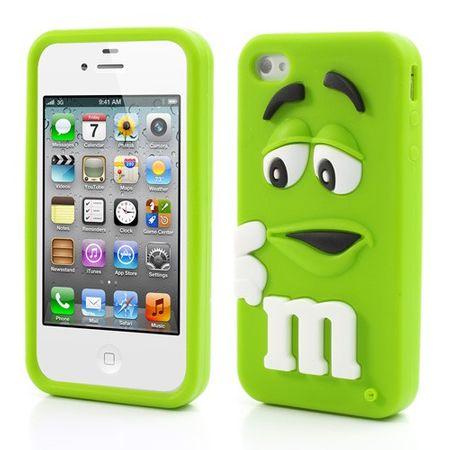 iPhone 4/4S Leicht glänzendes 3D M&Ms Silikon Case - grün