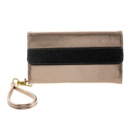 Universelles, zweifarbiges Leder Portemonnaie mit integrierter Smartphone Halterung bis 16,5x8cm - champagnerfarben