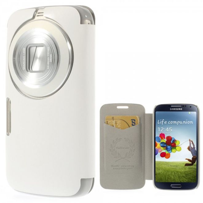 Samsung Galaxy S5 Zoom Crazy Horse Leder Case - weiss