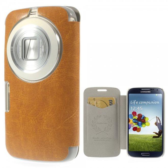 MU Classic Samsung Galaxy S5 Zoom Crazy Horse Leder Case - orange