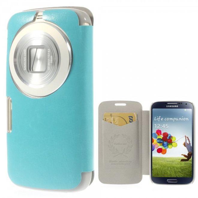 MU Classic Samsung Galaxy S5 Zoom Crazy Horse Leder Case - hellblau