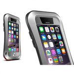 iPhone 6/6S LOVE MEI Ultrarobustes, dünnes Metall, Silikon und gehärtetes Glas Cover - silber