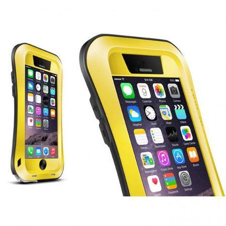 iPhone 6 Plus/6S Plus LOVE MEI Ultrarobustes, dünnes Metall, Silikon und gehärtetes Glas Cover - gelb