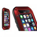 iPhone 6 Plus/6S Plus LOVE MEI Ultrarobustes Metall, Silikon und gehärtetes Glas Case - rot
