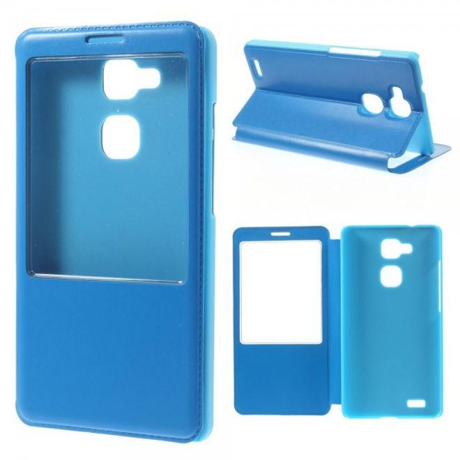 Huawei Ascend Mate7 Leder Smart Case mit grossem Fenster - hellblau