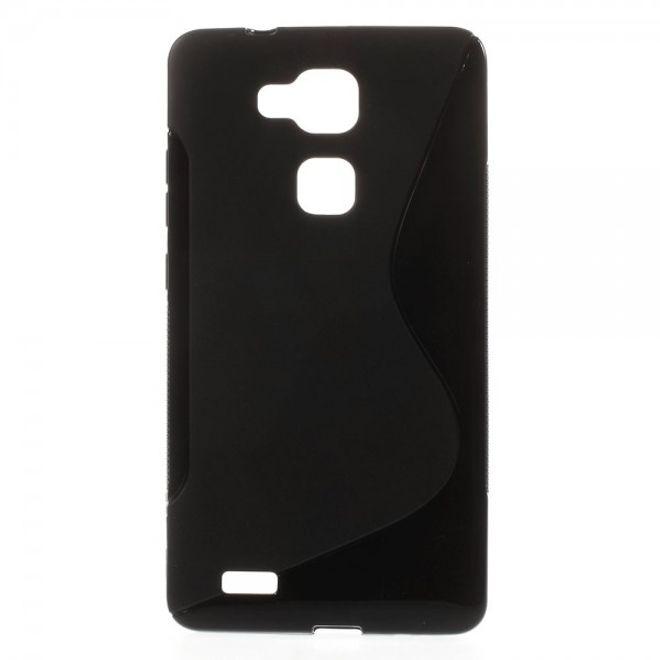MU Classic Huawei Ascend Mate7 Elastisches Plastik Case S-Line - schwarz