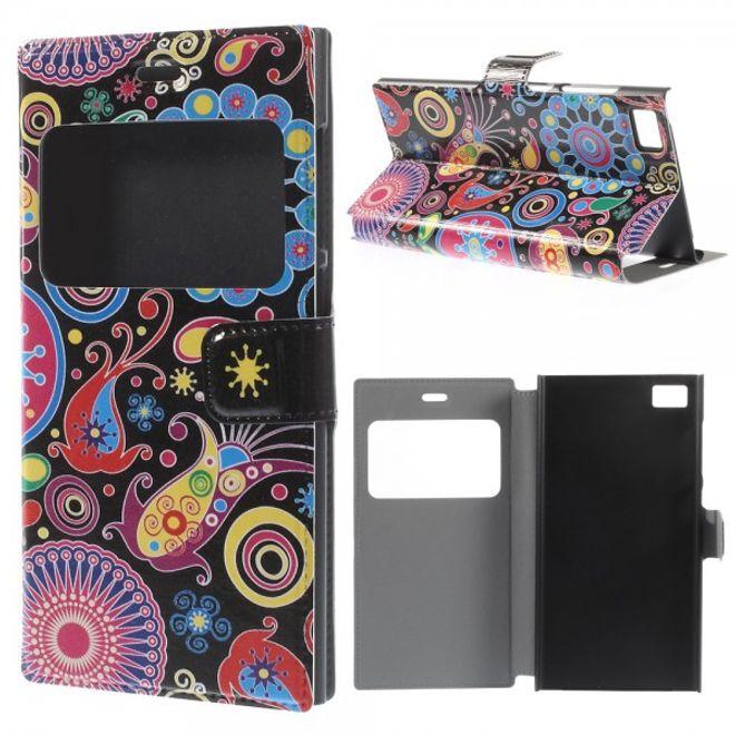 MU Style Xiaomi Mi3 Leder Case mit farbigem Muster - schwarz