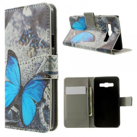 Samsung Galaxy A3 Leder Case mit wunderschönem blauem Schmetterling