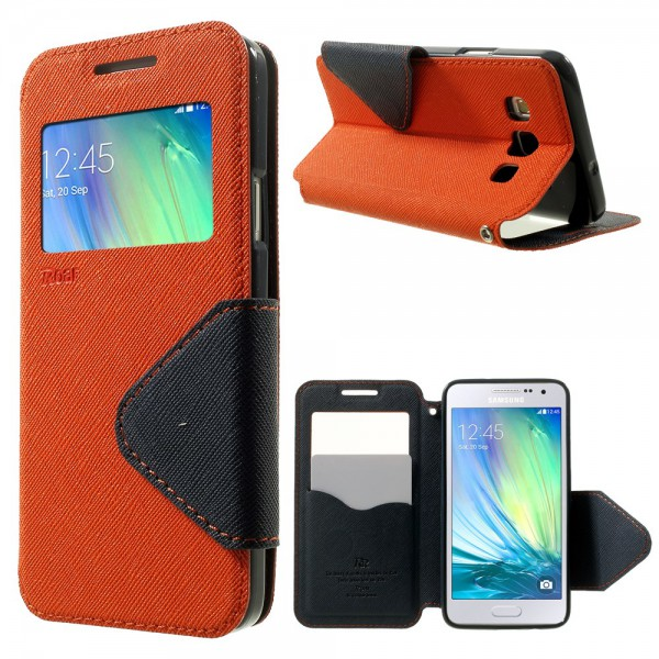 Roar Samsung Galaxy A3 ROAR KOREA Leder Case mit kleiner Öffnung - orange