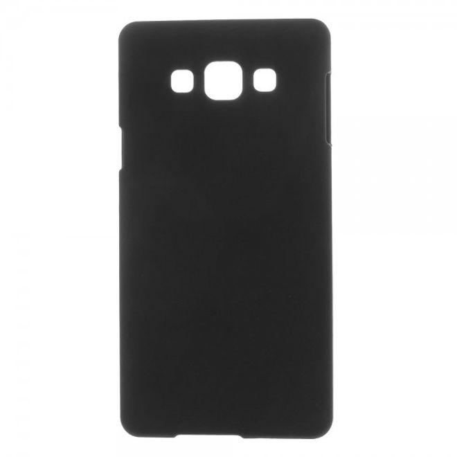 Samsung Galaxy A7 Gummiertes Hart Plastik Case - schwarz