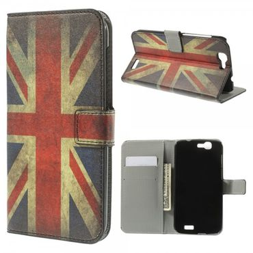 Huawei Ascend G7 Leder Case mit UK Flagge retro-style