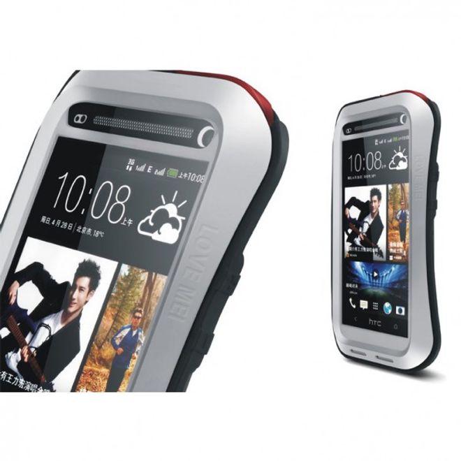 Love Mei HTC One (M7) LOVE MEI Ultrarobustes, dünnes Metall, Silikon und gehärtetes Glas Case - schwarz/grau