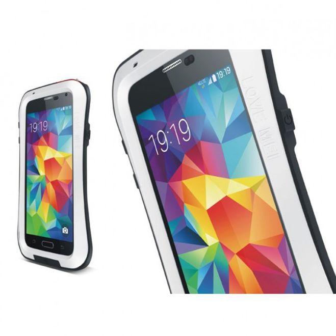 Love Mei Samsung Galaxy S5 LOVE MEI Ultrarobustes, dünnes Metall, Silikon und gehärtetes Glas Case - weiss/schwarz
