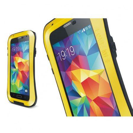 Samsung Galaxy S5 LOVE MEI Ultrarobustes, dünnes Metall, Silikon und gehärtetes Glas Case - gelb