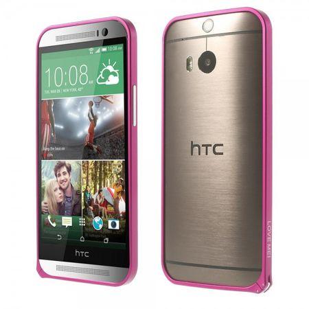 HTC One (M8) LOVE MEI Metall und Aluminium Bumper ohne Schrauben - rosa