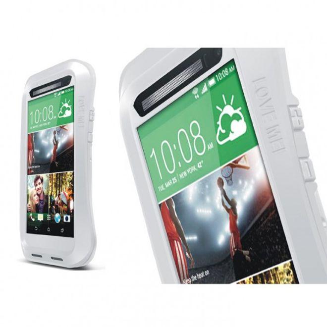 Love Mei HTC One (M8) LOVE MEI Ultrarobustes, dünnes Metall, Silikon und gehärtetes Glas Case - silber