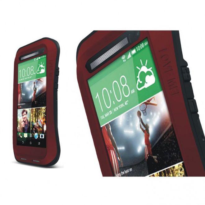Love Mei HTC One (M8) LOVE MEI Ultrarobustes, dünnes Metall, Silikon und gehärtetes Glas Case - schwarz/rot