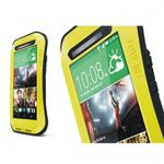 HTC One (M8) LOVE MEI Ultrarobustes, dünnes Metall, Silikon und gehärtetes Glas Case - schwarz/gelb
