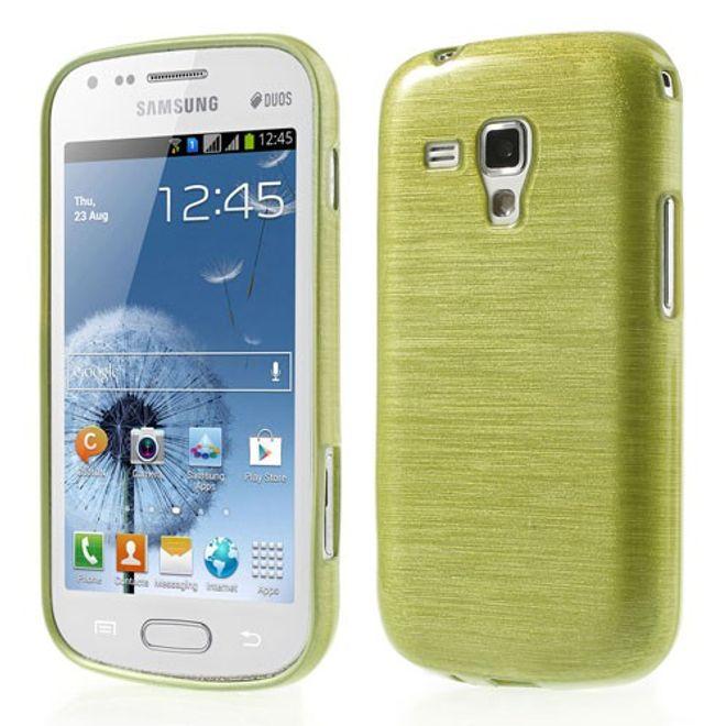 Samsung Galaxy S Duos Elastisches, gebürstetes Plastik Case - gelbgrün