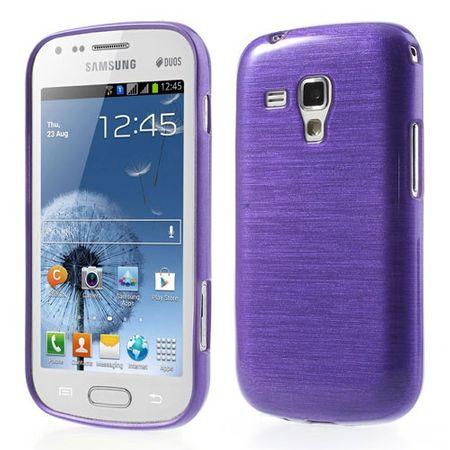 Samsung Galaxy S Duos Elastisches, gebürstetes Plastik Case - purpur