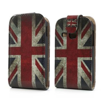 Samsung Galaxy Young Leder Flip Case mit Union Jack Flagge retro-style