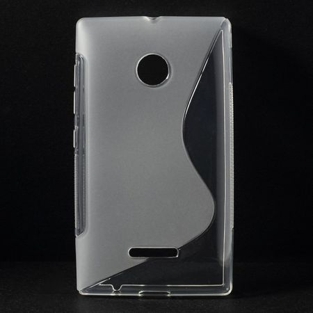 Microsoft Lumia 435 Elastisches Plastik Case S-Shape - transparent
