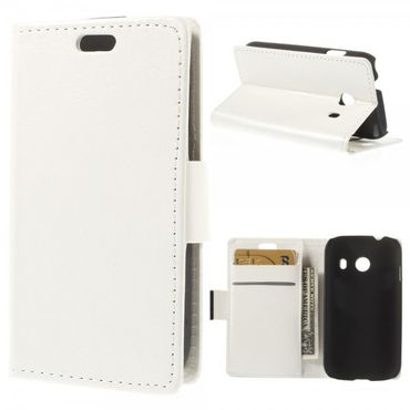 Samsung Galaxy Ace Style Crazy Horse Leder Case mit Standfunktion - weiss