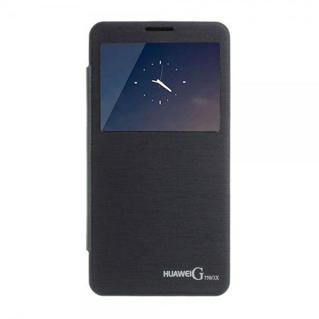 Huawei Honor 3X Leder Flip Case mit kleiner Öffnung und Plastik Backcover - dunkelblau