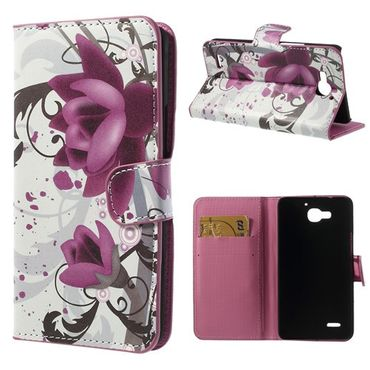 Huawei Honor 3X Leder Case mit Lotus Blumen