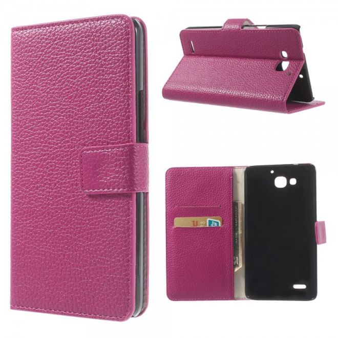 Huawei Honor 3X Leder Case mit Litchimuster und Standfunktion - rosa