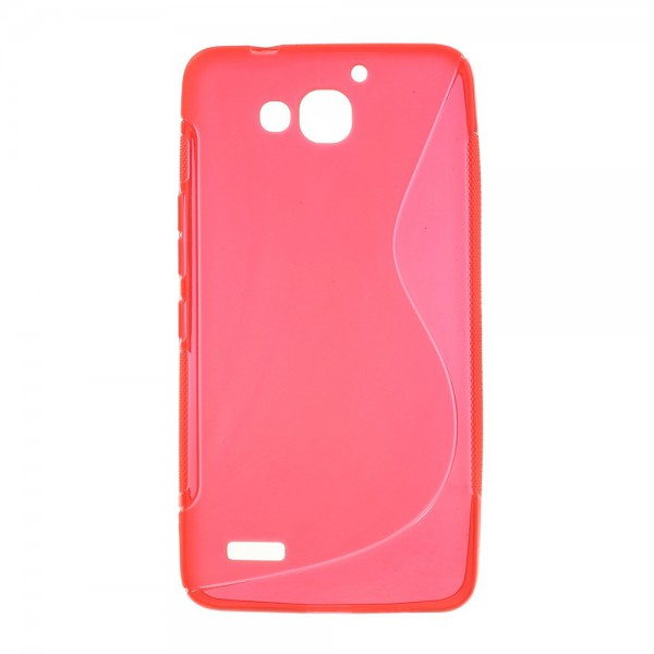 Huawei Honor 3X Softes, elastisches Plastik Case S-Curve - rot