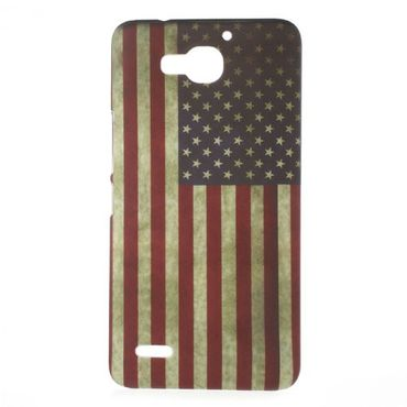 Huawei Honor 3X Hart Plastik Case mit USA Flagge retro-style