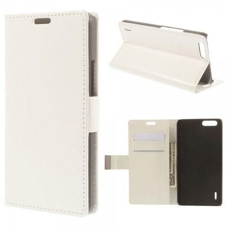 Huawei Honor 6 Plus Crazy Horse Leder Case mit Standfunktion - weiss