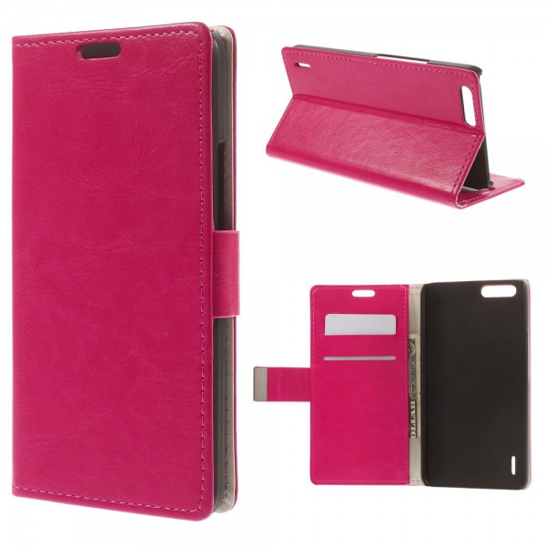 Huawei Honor 6 Plus Crazy Horse Leder Case mit Standfunktion - rosa