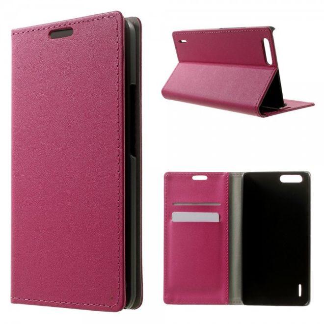 Huawei Honor 6 Plus Leder Case mit sandartiger Oberfläche und Kreditkartenschlitz - rosa