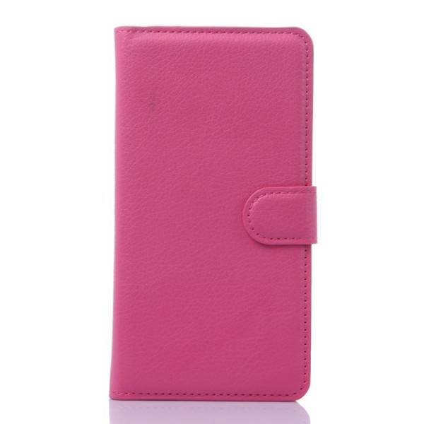 Huawei Honor 6 Plus Leder Case mit Litchimuster und Standfunktion - rosa