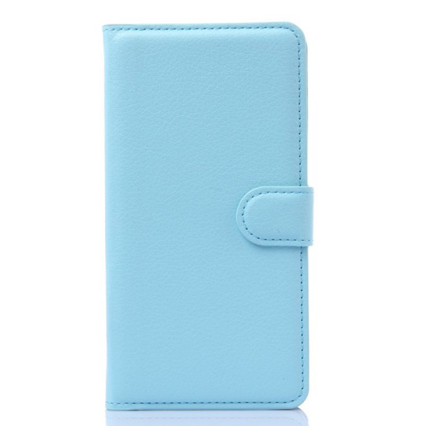 Huawei Honor 6 Plus Leder Case mit Litchimuster und Standfunktion - blau
