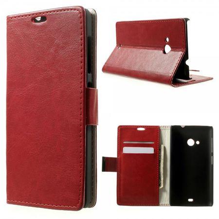 Microsoft Lumia 535/535 Dual Crazy Horse Leder Case mit Kreditkartenschlitz - rot