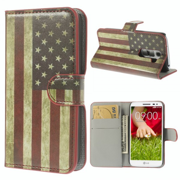 LG G2 Mini Leder Case mit USA Flagge retro-style