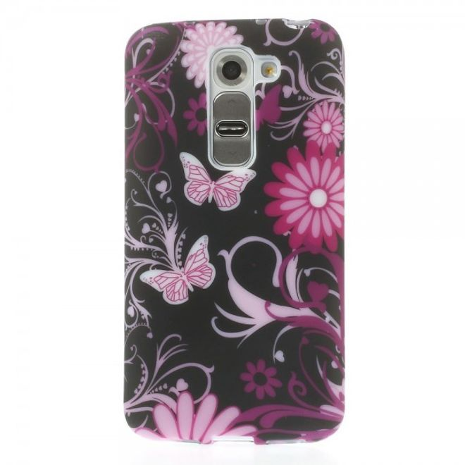 LG G2 Mini Elastisches Plastik Case mit Schmetterlingen und Blumen