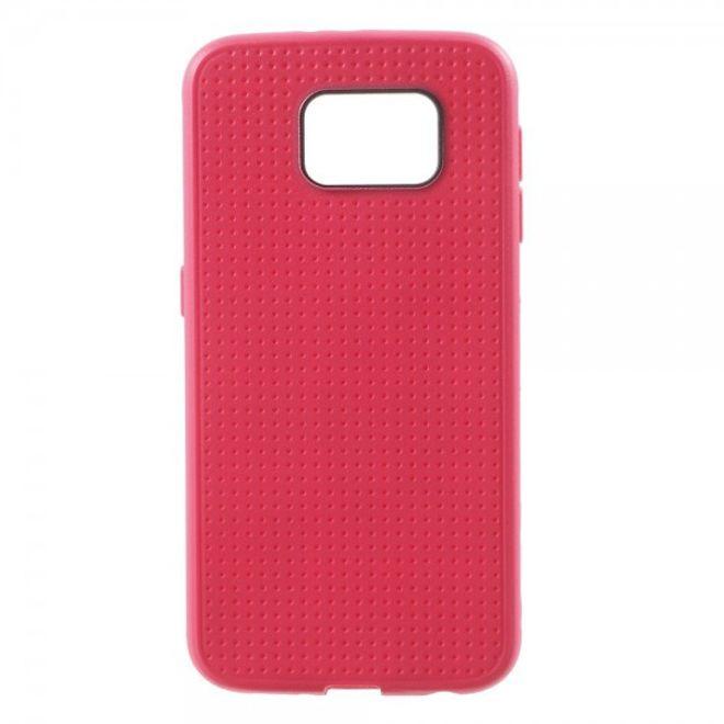 Samsung Galaxy S6 Elastisches Plastik Case mit Gittermuster - rosa