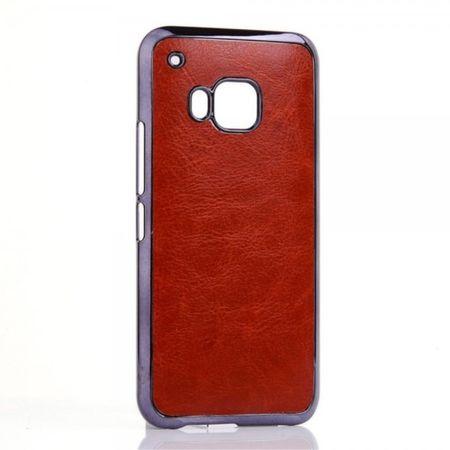 HTC One (M9) Hart Plastik Case mit lederartiger Oberfläche - braun